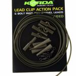 Карповый монтаж KORDA Lead Clip Action Pack Weed KLCAPW
