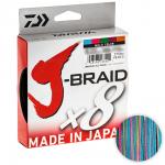 Плетеный шнур DAIWA J-BRAID X8 MULTICOLOR 0.22 (300м.)