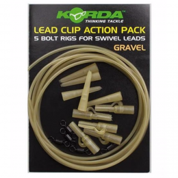 Карповый монтаж KORDA Lead Clip Action Pack Gravel KLCAPG