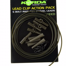 Карповый монтаж KORDA Lead Clip Action Pack Weed KLCAPW