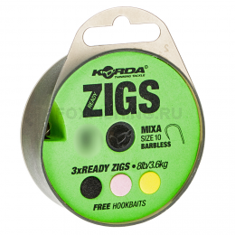 Волосяная оснастка KORDA Ready Zigs on spool 6 Barbless size 10