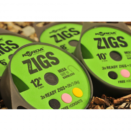 Волосяная оснастка KORDA Ready Zigs on spool 8 Barbless size 10