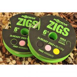 Волосяная оснастка KORDA Ready Zigs on spool 8 size 10