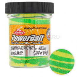 Форелевая паста BERKLEY PowerBait SELECT GLITTER TURBO DOUGH SPRING GREEN/YELLOW