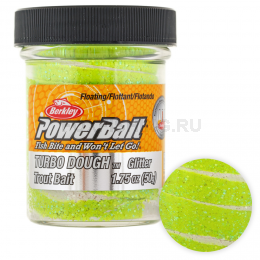 Форелевая паста BERKLEY PowerBait SELECT GLITTER TURBO DOUGH WHITE/CHARTREUSE
