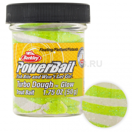 Форелевая паста BERKLEY PowerBait SELECT GLITTER TURBO GLOW CHARTREUSE/WHITE GLOW