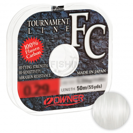 Леска флюрокарбоновая OWNER TOURNAMENT LINE FLUOROCARBON 50м. 0.245мм. CLEAR
