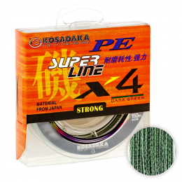 Плетеный шнур KOSADAKA SUPER PE X4 DARK GREEN 0.12