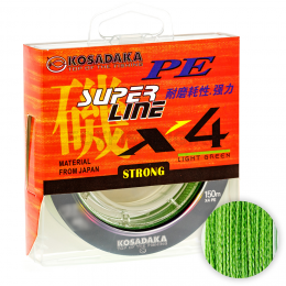 Плетеный шнур KOSADAKA SUPER PE X4 LIGHT GREEN 0.25