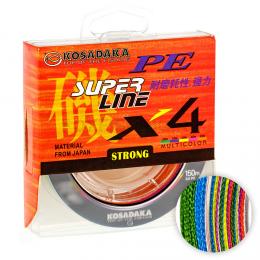 Плетеный шнур KOSADAKA SUPER PE X4 150м. 0.12мм. MULTICOLOR