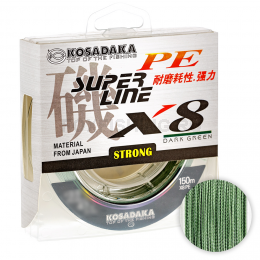 Плетеный шнур KOSADAKA SUPER PE X8 DARK GREEN 0.18