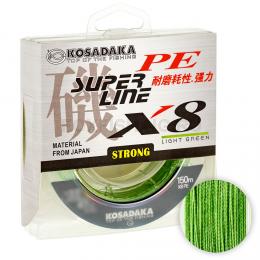 Плетеный шнур KOSADAKA SUPER PE X8 LIGHT GREEN 0.25
