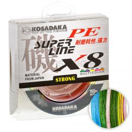 Плетеный шнур KOSADAKA SUPER PE X8 MULTICOLOR 0.12