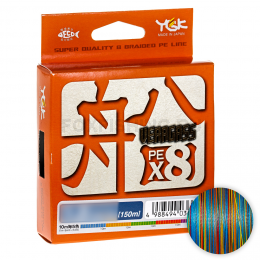 Плетеный шнур YGK VERAGASS X8 150м. 0.8PE MULTICOLOR