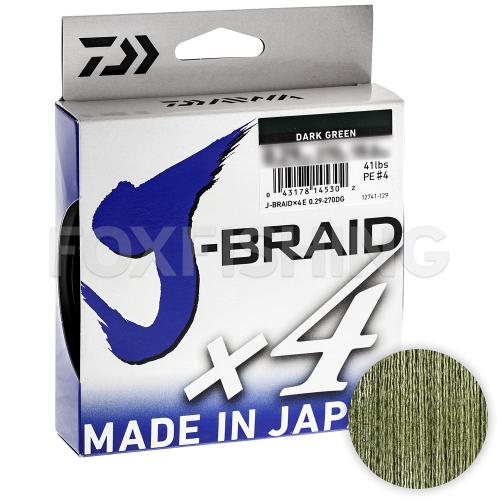 Плетеный шнур DAIWA J-BRAID X4 135м. 0.13мм. DARK GREEN фото №1