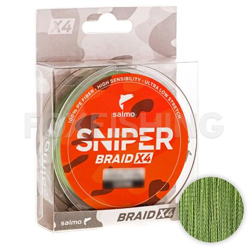 Плетеный шнур SALMO SNIPER BRAID 120м. 0.265мм. ARMY GREEN фото №1